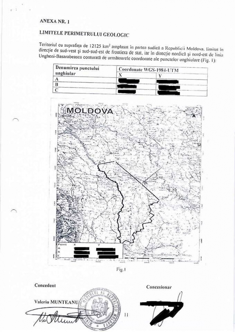 Map showing boundaries for Frontera operations in Moldova