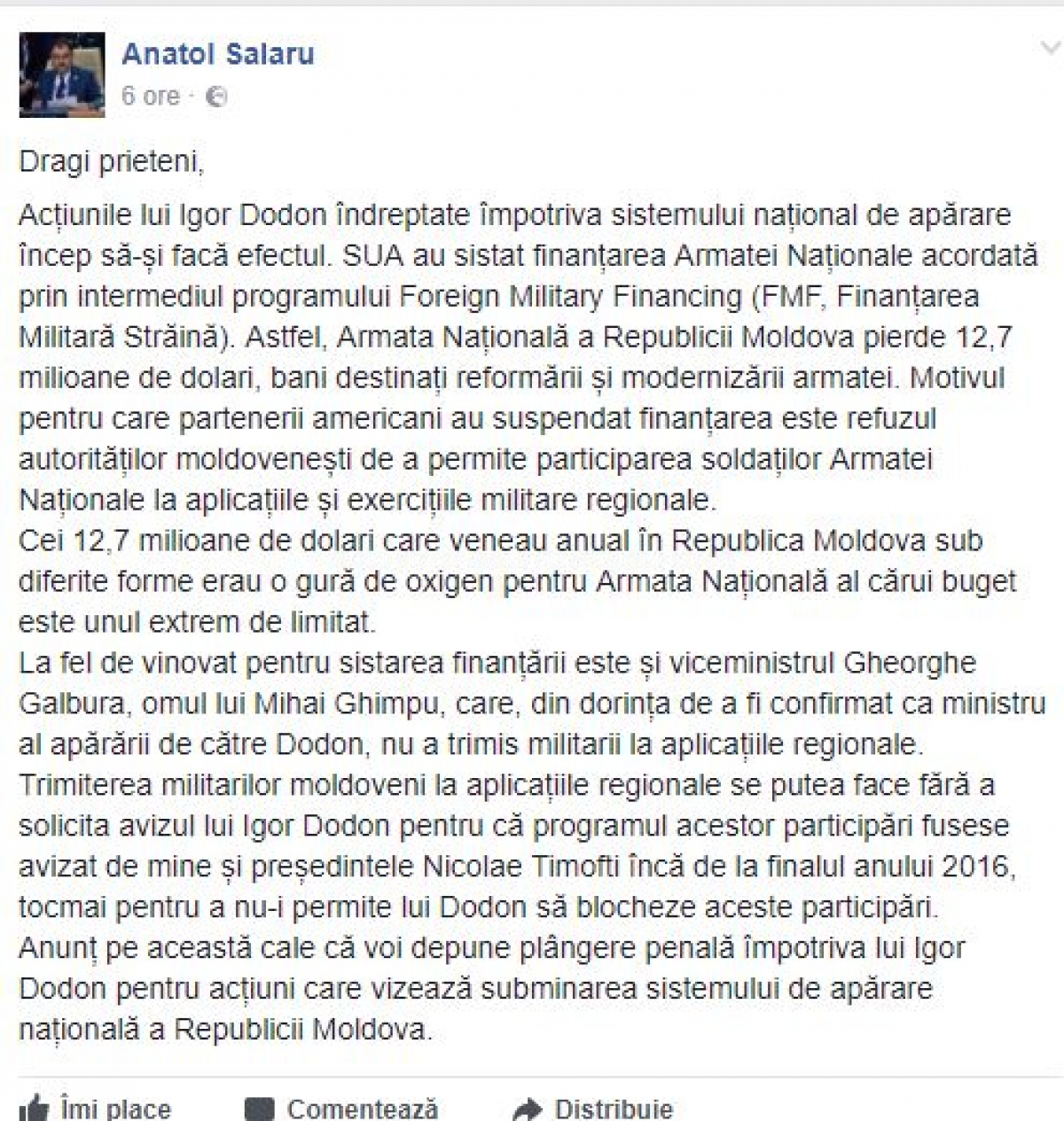 Șalaru's posts on social networks